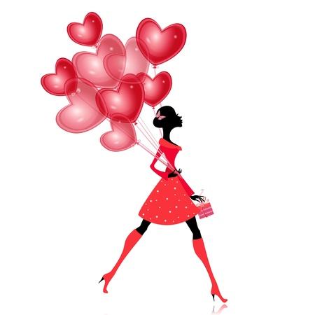cuore in mano: Ragazza isolata con un palloncino valentines Vettoriali