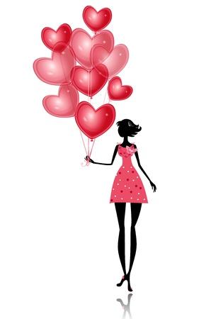 corazon: Chica aislada con un globo de San Valentín Vectores