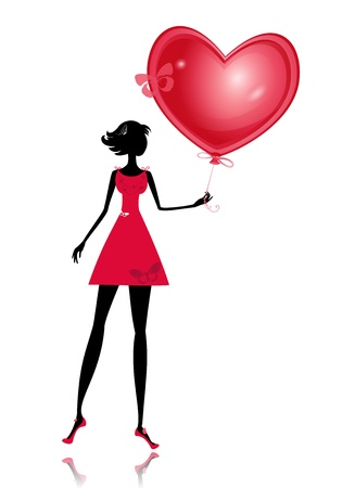balloon girl: Isolated girl with a valentines balloon