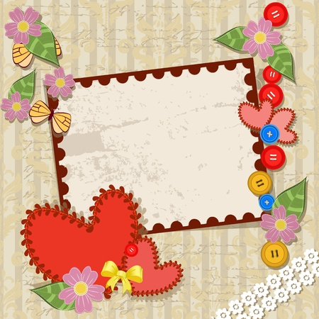 handmade valentine in background grunge Stock Vector - 11994137