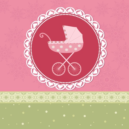 Pram in the background of retro Stock Vector - 11994139