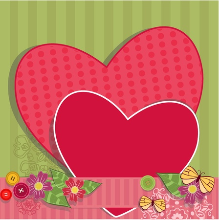 Paper valentine handmade with vintage elements Vector
