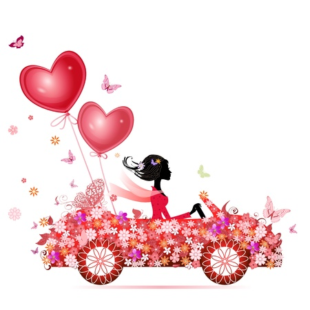 Female flower cars with air valentines Stock Vector - 11994140