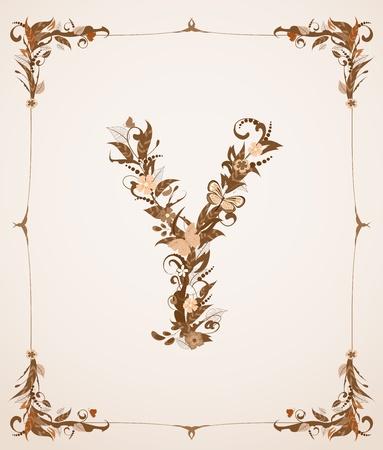 codex: retro vintage letter in a frame Illustration