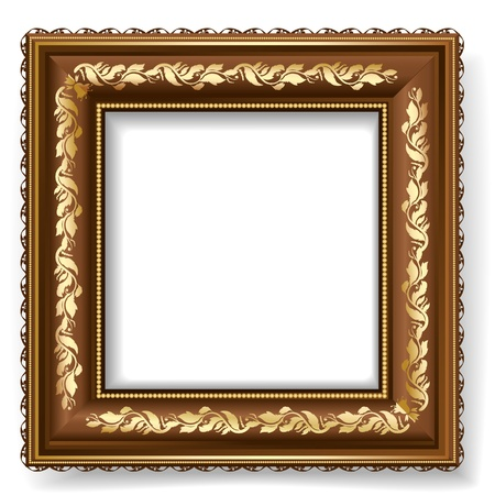 retro frame with gold leaf Stock Vector - 12344652
