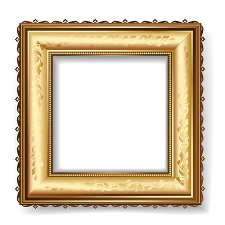 antique frames: marco retro con pan de oro