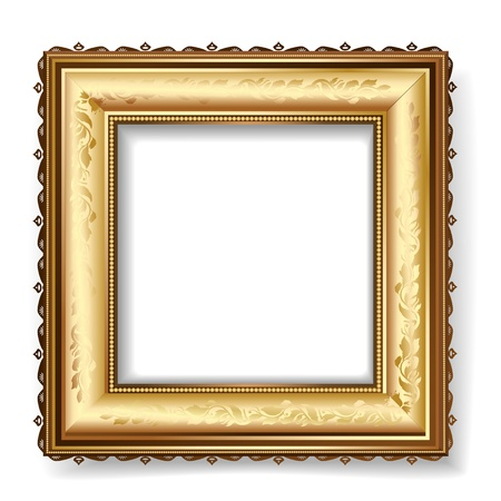 retro frame with gold leaf Vector