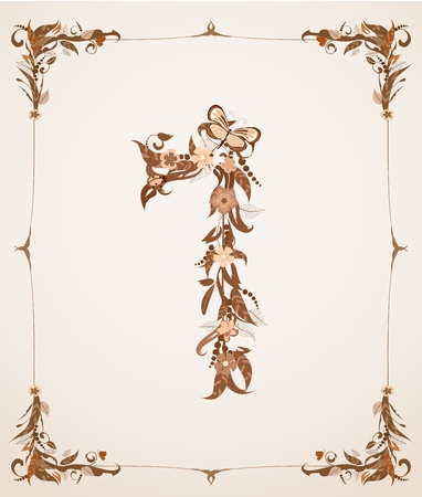 codex: retro vintage letter number in a frame