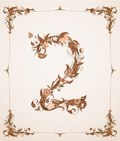 retro vintage letter number in a frame Stock Vector - 12344659