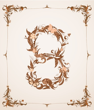 retro vintage letter number in a frame Stock Vector - 12344666