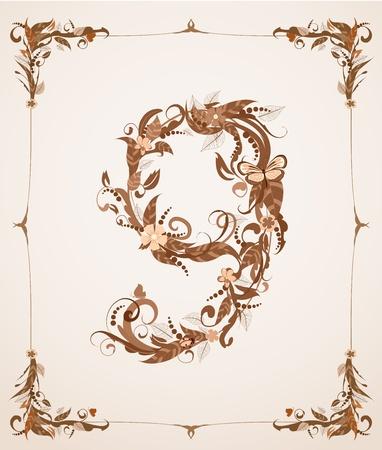 retro vintage letter number in a frame Stock Vector - 12344663
