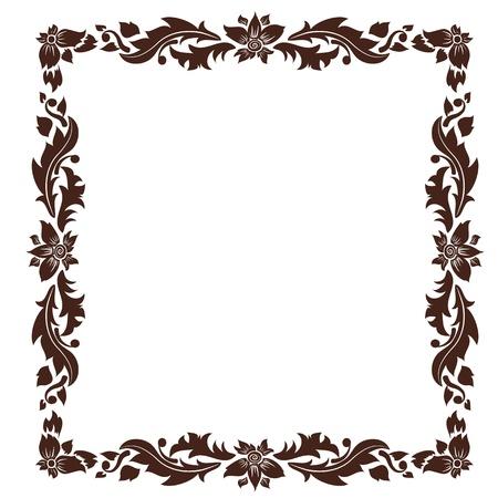 floral border frame: vintage frame with foliage