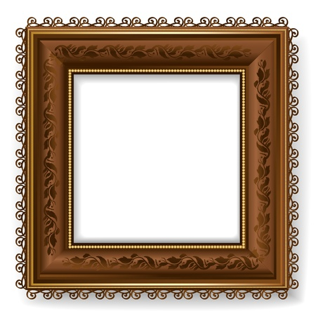 Retro vintage wooden frame Vector