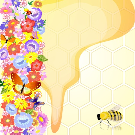 Honey bees are the flowers Vector
