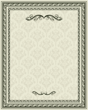 Vintage frame or blank retro styled background  Vector