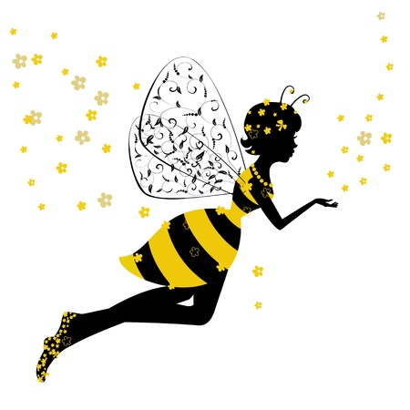 abeja caricatura: Little Bee Fairy Chica Vectores