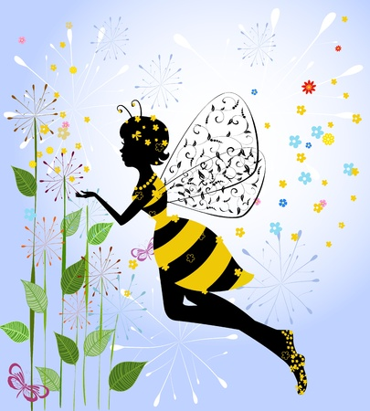 mariposa caricatura: Niña de las flores de hadas Bee