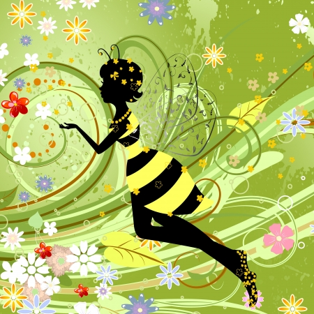 Summer girl fantasy fairy flower bee Vector