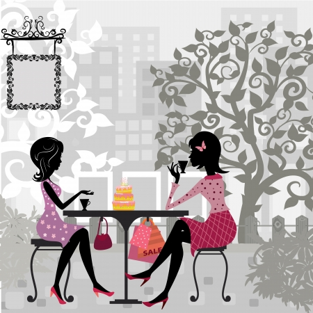 dinner party: girl in a summer cafe and cake Illustration