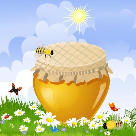 jar sweet honey in the flower meadow Stock Vector - 12344714