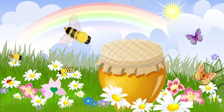 Summer panorama from a jar sweet honey Vector
