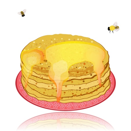plate of pancakes and honey Stock Vector - 12344715