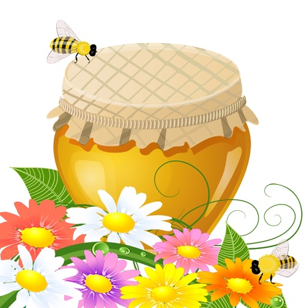floral design with a jar the sweet honey Vector