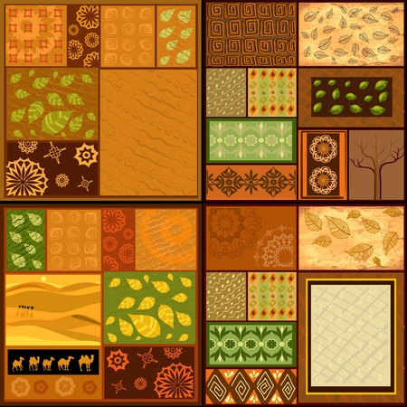 set of ethnic backgrounds, African patterns Vector
