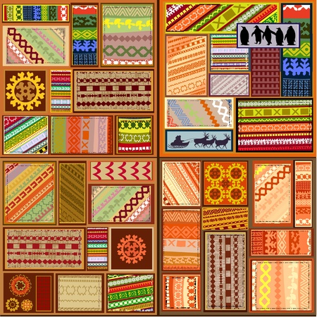 set of ethnic patterns of northern peoples Vector