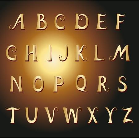 Font vintage gold Vector