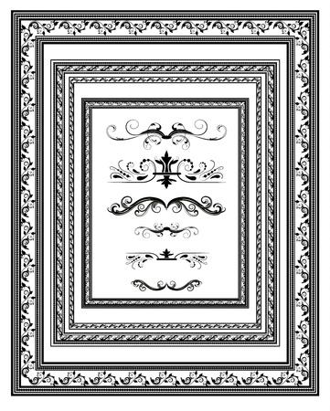 bordures fleurs: ensemble de cadres d'�poque pour les dipl�mes Illustration