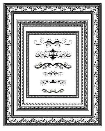 rococo style: set of vintage frames for diplomas