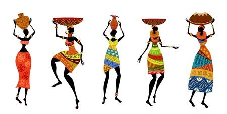 kobiet: Afrykańskie kobiety w tradycyjnych strojach Ilustracja