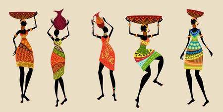 arte africano: Las mujeres africanas en trajes tradicionales Vectores