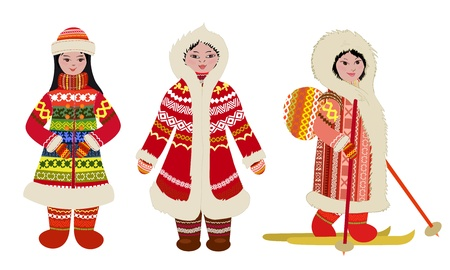 fur coat: Female northern people in costumes Illustration