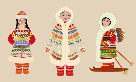 woman fur: Female northern people in costumes Illustration