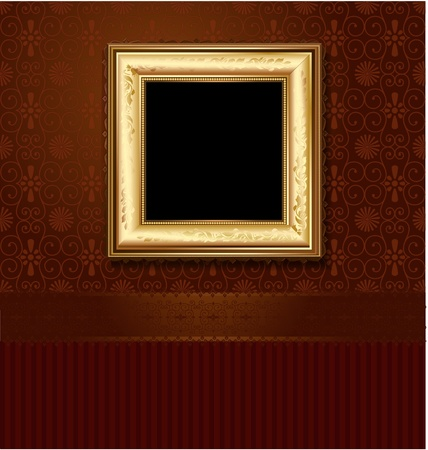 Golden picture frame on the wall of vintage wallpaper Vector