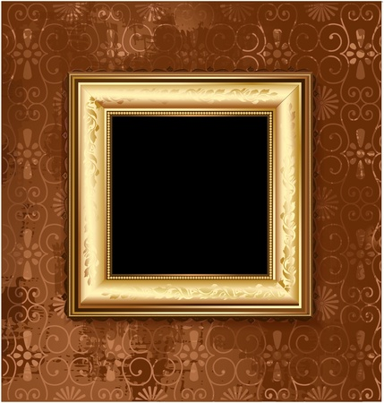Golden picture frame on the grunge wall Vector