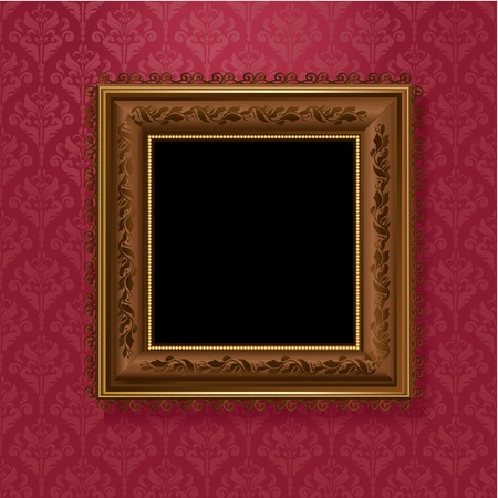 old picture: picture frame on vintage wallpaper