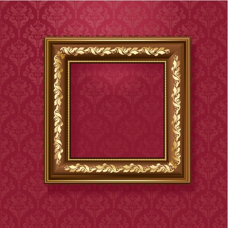 Golden picture frame on the wall of vintage wallpaper Stock Vector - 12425904