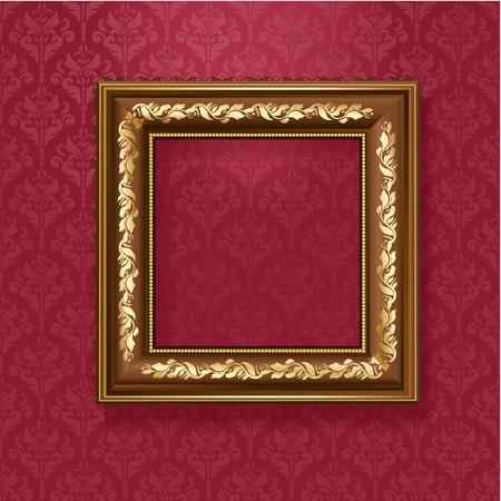 bilderrahmen gold: Goldene Bilderrahmen an der Wand des Weinlesetapete Illustration