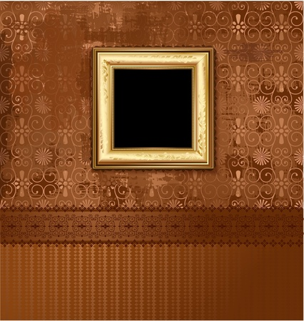 Golden picture frame on the grunge wall Stock Photo