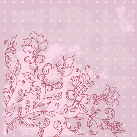 grunge floral abstract drawing by hand Vector