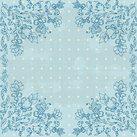 frame with foliate ornament doodles grunge Vector