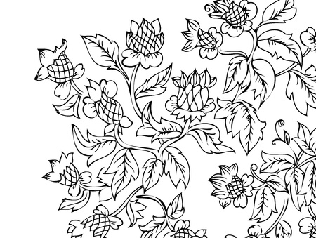 floral abstract drawing by hand Vector