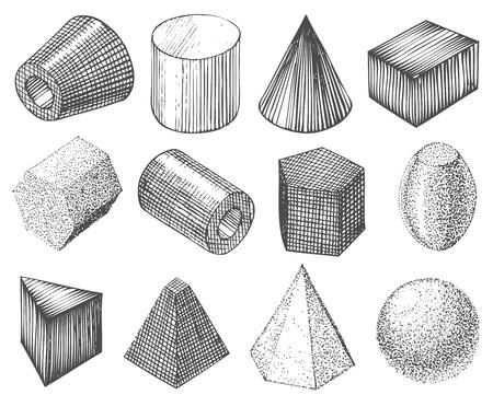 geometrische vormen met de hand Stock Illustratie