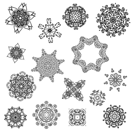 set of abstract design with arabesques Vector