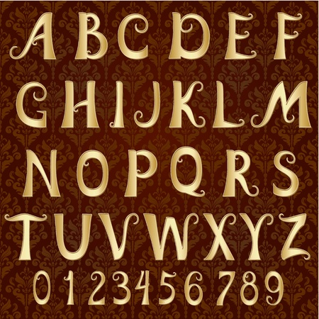 letters gold: gold font on a vintage background
