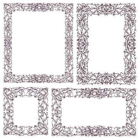 set vintage frame met florale versiering