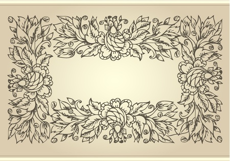 rococo: vintage frame with floral ornament